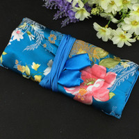 Wholesale Silk Brocade Set - Large Flower Travel Roll go Cosmetic Bag Women Makeup Storage Bag Silk Brocade 3 Zipper Pouch Ring Hanging Rope Pack Jewelry Sets Bag 10pcs
