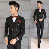 Wholesale Male Prom - 2017 Men Blazers Terno Masculino Casamento Slim Fit Costume Mariage Homme Blue Prom Suits Male Heren Kleding Plaid Dress Suits