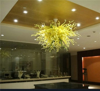 Wholesale White Mouth Led - Vinatge Mouth Blown Glass Chandelier Light Green Yellow Color Glass Chihuly Style Art Hotel Chandelier - Girban Brand