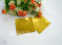 Wholesale Chocolate Foil Paper - 8*8cm Chocolate Wrapper Gold Aluminium Foil Paper Food Candy Tea Wrapping Sheets Paper Free Shipping