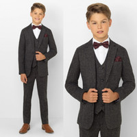 Wholesale Bow Ties For Little Boys - Boys Tuxedo Boys Dinner Suit For Wedding Formal Suits Tuxedo for Kids Formal Occasion Suits For Little Men (Jacket+Pants+Vest+Bow Tie)