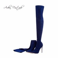 Wholesale Winter Sexy Cloth - Arden Furtado 2017 winter woman blue boots over the knee thigh high boots bling bling sexy high heels 12cm sequined cloths slip on
