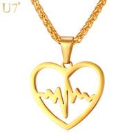 yeni desen altın takı toptan satış-Benzersiz Yeni Kalp Kolye Paslanmaz Takı Kadınlar Için Trendy Aşk Hediye 18 K Altın Kaplama Kalp Hızı Desen Kolye Lover Takı P830