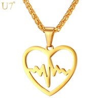 Wholesale Unique Gifts Love - unique New Heart Pendant Stainless Jewelry For Women Trendy Love Gift 18K Gold Plated Heart Rate Pattern Necklace Lover Jewelry P830