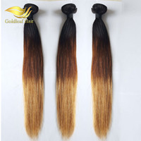 Wholesale remy blonde human hair weave extension for sale - Group buy Blonde Human Hair Weaves B Malaysina Peruvian Brazilain Straight Wavy Virgin Bundles Three Tone Ombre Hair Wefts Extensions