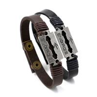 Wholesale Snap Blades - Top Quality Snap Leather Bracelets Bangle Handmade Braided Alloy Razor Blade Arrow Charm Bracelets For Men Women Friendship Bracelet Jewelry