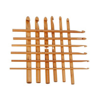 Wholesale Bamboo Hooks - New Arrive 12pcs set Sweater knitting Circular Bamboo Handle Crochet Hooks Smooth Weave Craft Needle 12 Size