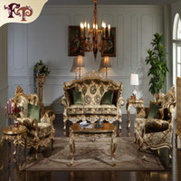Wholesale Wood Living Room Furniture Sets - Baroque Classic living room furniture- European Classic sofa set with gold leaf gilding -Italian luxury classic furniture