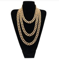 Wholesale 15mm Chain - Hip Hop Gold Silver 15mm Choker Cuban Chain Mens 18inch 20inch 24inch 30inch Miami Cuban Link Chain BlingBling Jewelry
