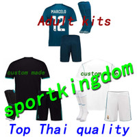 Soccer Short Polyester Top thai quality Real Madrid adult football Jersey  kit+sock 17 18 fdfeafa2e