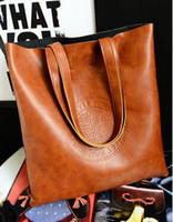 Wholesale Handbag British Retro - Oil quality PU leather women bag retro British European and American fashion handbags embossed shoulder bag large capacity Lady