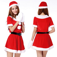 Wholesale Christmas Hat Adult - Wholesale-2016 New Year Merry Christmas Costumes For Adult Girl Sexy Red Furry Dovetail Dress With Hat Christmas Party Fancy Dress
