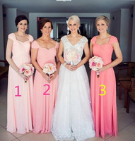 Wholesale Light Coral Pink Dress - Coral Light Pink Long Bridesmaid Dresses With Cap Sleeves Pleats Draped Chiffon Modest Plus Size Bridesmaids Dress