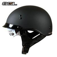 Wholesale Sol Helmets - SOL SH-1 brand Harley Motorcycle helmet women man racing Retro motorbike helmet with inne sunshield open face MOTO helmets DOT