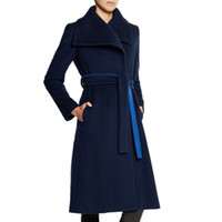 5dab77f704b High quality Shawl Collar Overcoat Fashion women plus size jacket with belt  2019 Spring New Ladies Outwear Long Slim Cashmere Belted Coats