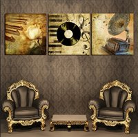 Picture Unframed 3 Pieces Frete Grátis Impressões phonograph piano DVD flor árvore da montanha Bamboo Calla Lily Abstract painting Sketch woman