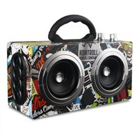 mini-boombox-radio großhandel-20 Watt Tragbare Holz High Power Bluetooth Lautsprecher Tanzen Lautsprecher Drahtlose Stereo Super Bass Boombox Radio Receiver Subwoofer