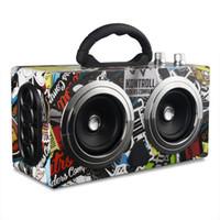 ingrosso audio boombox-Altoparlante da 20W portatile in legno ad alta potenza Bluetooth Altoparlante da ballo Stereo senza fili Super Bass Boombox Ricevitore radio Subwoofer