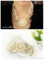 Wholesale Pearl Jewel Necklace - Simulated chain rhinestone crystal choker bead for led bracelet luminous wedding type Tourism Memorial women's Necklaces pearl jewel Tr
