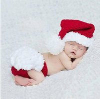 Wholesale animal crochet newborn outfits resale online - Baby Photography Props Christmas Outfits Santa Suit Long Tail Baby Boy Girl Christmas Hat Crochet Newborn Photo Props