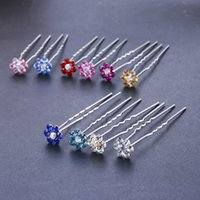 Wholesale Hair Slide Bridal - Wholesale 100pcs Crystal Flower Wedding Bridal Hairpin Hair Slide Prom Hair Accessories