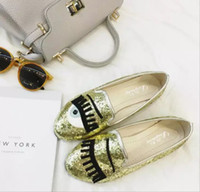 2016 New Fashion Flirting Big Eyes Loafers Chiara Ferragni Glitter Slip-on Sneakers Round Toe Femmes Casual Flat Shoes 20019