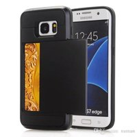 Wholesale S3 Hard Case Dual Layer - Luxury Dual Layer Hybrid Back Case With Slide Hide Card Holder For Samsung Galaxy S3 S4 S5 S6 S7 Edge Hard Slim Soft Armor Cover