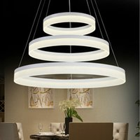 Wholesale Circular Light Chandelier - For restaurant foyer bedroom dinning room droplight Modern round ring circular PMMA Acrylic LED chandelier light hanging lamp