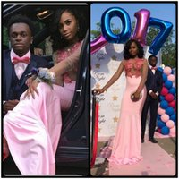 Wholesale Styles For Formal Maternity - African Style Mermaid Pink Evening Dress 2018 Sexy Sheer Bodice Long Sleeves Formal Gowns Lace Appliques Prom Dresses Party Dress for Black