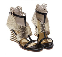 Wholesale Champagne Wedding Wedge Shoes - Glitter sequin patchwork gold silver hollow out wedge heel shoes women party evening prom gown dress shoes 9cm size 35 to 40
