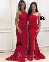 Wholesale New Styles Lady Maxi - 2018 New Arrival Maxi Style Classic Romantic Bridesmaid Dresses A Line One Shoulder Sweep Train Satin Side Split Ladies formal tuxedo