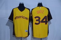 Hommes Boston Red Sox David Ortiz Maillot Jaune 2016 All Star Game cool base Batting Practice Jersey Joueur