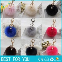 Wholesale Rabbit Ornaments - 2016 New Rabbit Fur Ball Keychain Bag Plush Car Key Ring Car Key Plush Pom Poms Ball Bag Car Ornaments Pendant Key Ring new hot