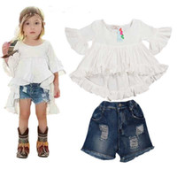Wholesale Girls Denim Tutu - 2016 New Sweet Kids Girls Ruffles Tops and Denim Shorts Outfits 2PCS Sets Fall Summer Cute Children Clothing