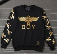 Wholesale White Boy London Sweatshirt - Hot Hight Quality Cotton Sweatshirt Men BOY LONDON Brand Clothing Hip-hop Loose Hoodie gold eagle black white Pullover hip hop sport tops