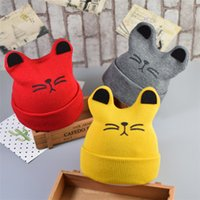 Wholesale Cute Toddler Girls Winter Hats - 2017 Autumn Winter 0-12months Baby Cute Ear Hat Cotton Beanie Cap Toddler Infant Baby Girls and Boys Knitted Hats Kids Hats & Caps