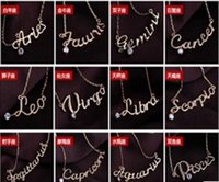 Wholesale ladies 14k gold necklace - Fashion Jewelry 12 Zodiac Signs Letter Pendants Necklace Womens Ladies Chokers Sweater Chain Vintage Twelve Constellations Letter Necklaces
