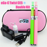 Wholesale Ce5 Plus C - Double ce5 Plus atomizer ego kit CE5 replaceable clearomizer with eGo-C Twist 650mah 900mah 1100mah 1300mah battery ego zipper case hot sale