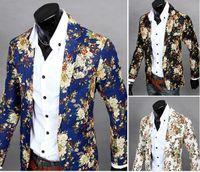 Wholesale colorful blazers - Flower Colorful Style Men Casual Blazer Suit Long Sleeve Thin Party Men Suit Blazers Slim Single Breasted Blazer For Men J160406