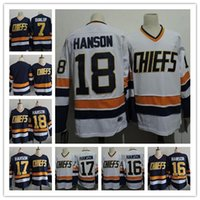 Wholesale Dunlop Green - Cheap Men's The Movie Hanson Brothers Charlestown Chiefs #17 Steve Hanson 7 Reggie Dunlop Blue Away Stitched Hockey Jersey free shipping