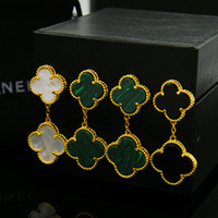 Wholesale Titanium Jewelry For Women Earrings - Export jewelry wholesale Fan Bingbing with natural shell agate clover single flower earrings 18K gold earringg for women