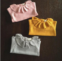 Wholesale Girls Knit Collared Shirts Wholesale - Toddlers Girls Lotus Leaf Collar Sweater Cute Child Baby Primer Shirt Knitted Sweater Baby Girl Clothing Free Shipping