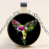 Wholesale Hummingbird Charms - 10pcs Hummingbird Bird Necklace,Gifts,Cabochon Glass Necklace Silver Bronze Black Pendant,Chain Necklace,Fashion Jewelry