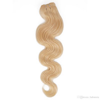 Wholesale Cheap 1pcs Hair Extension - Brazilian Virgin Hair Bundles Body Wave Hair Extension 613 Blonde 1pcs Can Be Dyed Remy Human Hair Weave Campany Cheap Queenlike 9A Diamond