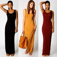 langhaarkleider großhandel-Frauen-lange Sommer-beiläufige Kleid-U-Ansatz-Sleeveless Tunika-Kleid-Normallack-Maxi Strand-Sommerkleid-Jersey-Kleider DZF0305