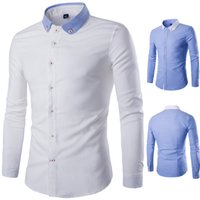 Wholesale Fits Commercial - Fashion New terylene oxford lawn Solid color Men's Commercial Long-sleeved Slim Fit Casual Shirt Size M-4XL Y602