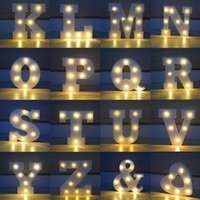 26 Letras White LED Night Light Marquee Sign Alphabet Lamp For Birthday Wedding Party Quarto Wall Hanging Party Decoration CCA7411 100pcs