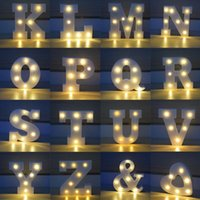 Wholesale Alphabet Sign - 26 Letters White LED Night Light Marquee Sign Alphabet Lamp For Birthday Wedding Party Bedroom Wall Hanging Party Decoration CCA7411 100pcs