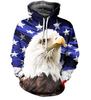 Wholesale American Flag Pullover - New Fashion Couples Men Women Unisex Eagle American Flag 3D Print Hoodies Sweater Sweatshirt Jacket Pullover Top S-5XL T20