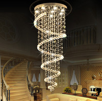 LED Crystal Chandelier Lighting Ceiling Pendant Lamp Fixtures Villas Hôtel Hall d'entrée Escalier Hanging Light AC110-240V CE FCC ROHS